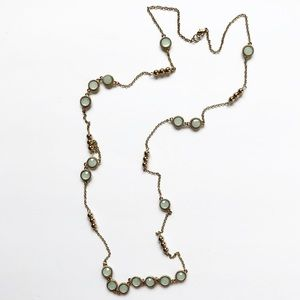 Chic gold bead & pale blue sapphire gem necklace